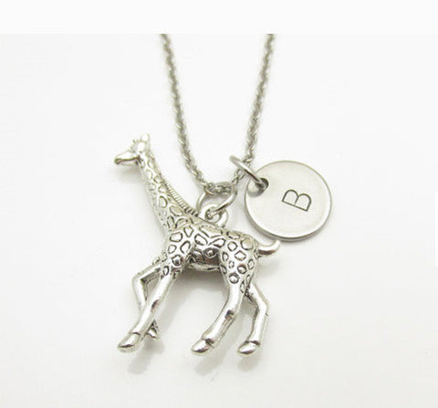 Giraffe Necklace and Initial, Silver Giraffe Charm, Personalized Initial, Animal Charm Jewelry, Stainless Steel Stamped Monogram