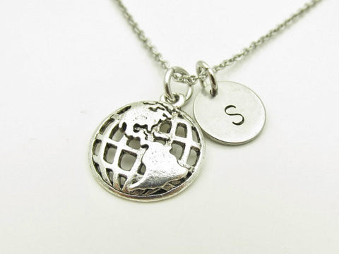 Globe Necklace, Earth Necklace, Personalized, Initial Necklace, Antique Silver Globe Charm Necklace, Initial Letter, Monogram