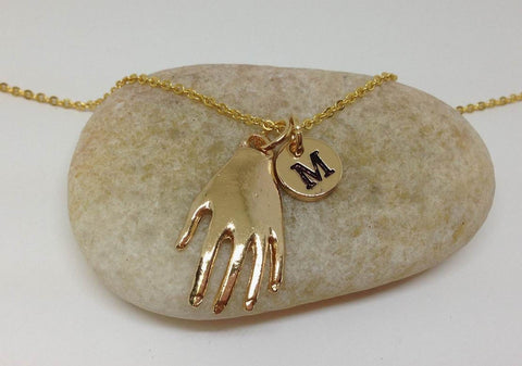 Gold Hand Charm Necklace, Picasso Art Necklace