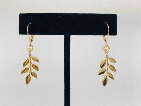 Gold Leaf Earrings, Plants Jewelry