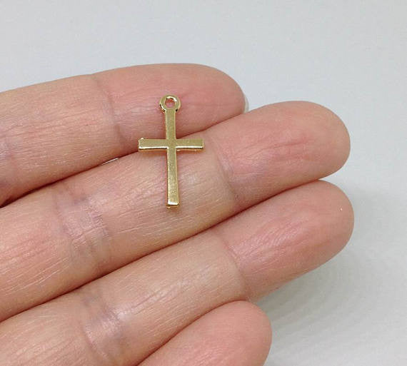 10 Gold Cross Charms