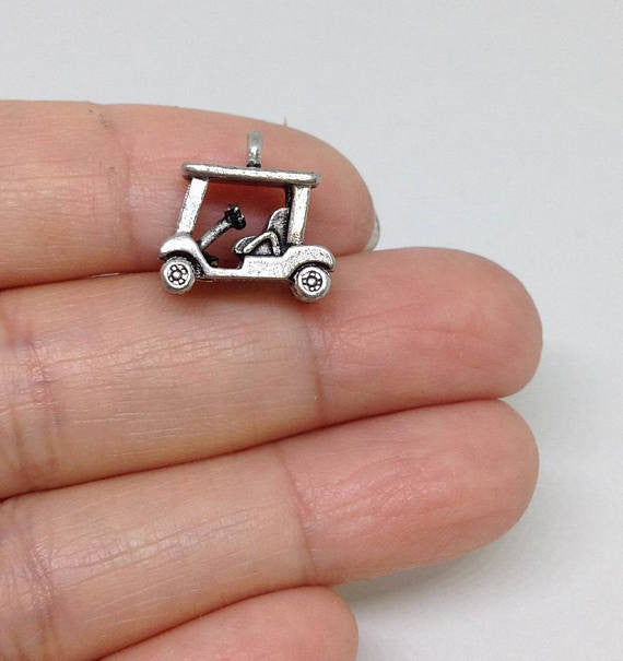 6 Golf Cart Charms , Caddie Cart Charm, Trolley Charm, Golfer Transportation charm Gold or Silver