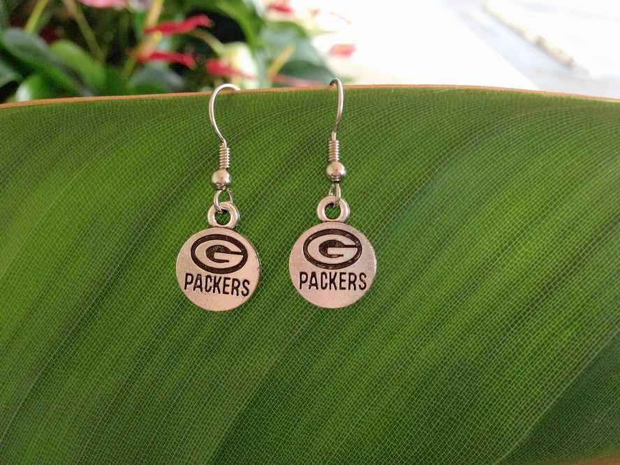 Green Bay Packers football charm Earrings