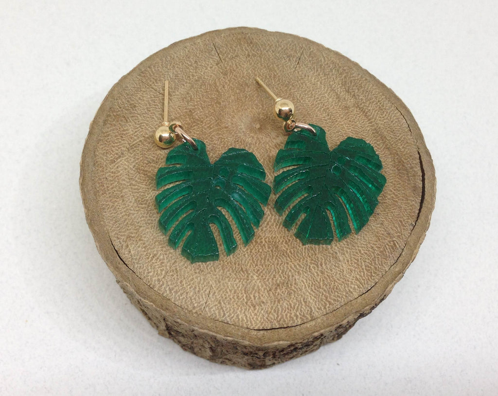 Green Leaf Statement Earrings