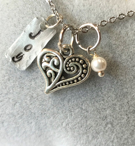 Joy Heart Pearl Charm Necklace - Hand Stamped Joy Charm
