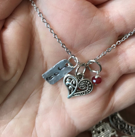 Joy Heart Ruby Charm Necklace - Hand Stamped Joy Charm