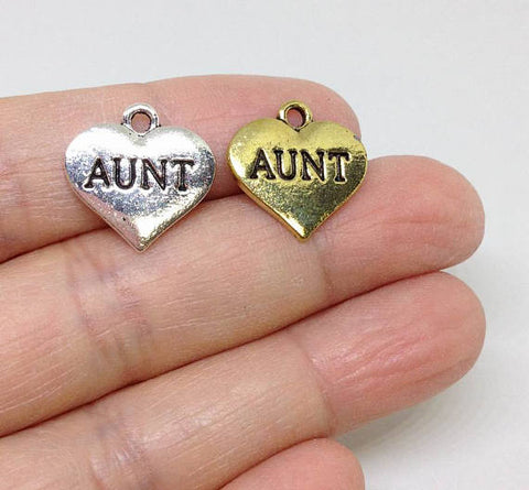 6pcs Heart Shape Aunt Charms, Aunty Charm, add on Charm, Family Charm Gold or Silver