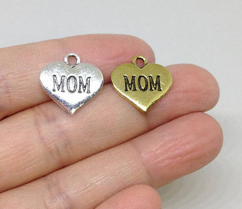 6pcs Heart Shape Mom Charms, Add on Charm, Family Charm Gold or Silver
