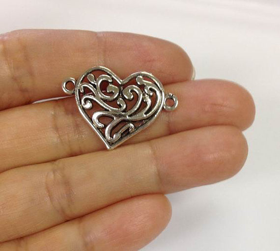 6pcs Heart Connector Charms, Connector Charm, Silver Charm