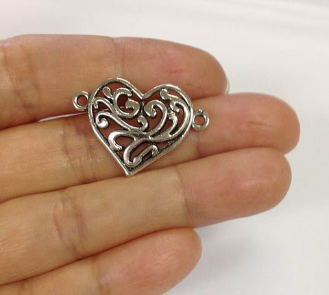 10 Heart Connector Charms