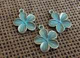 10pcs Apple Blossom Flower Charms, Flower Charm Silver or ShipWrecke
