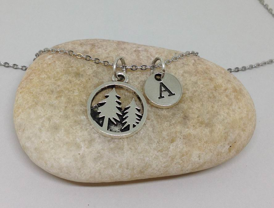 forest tree charm intial necklace