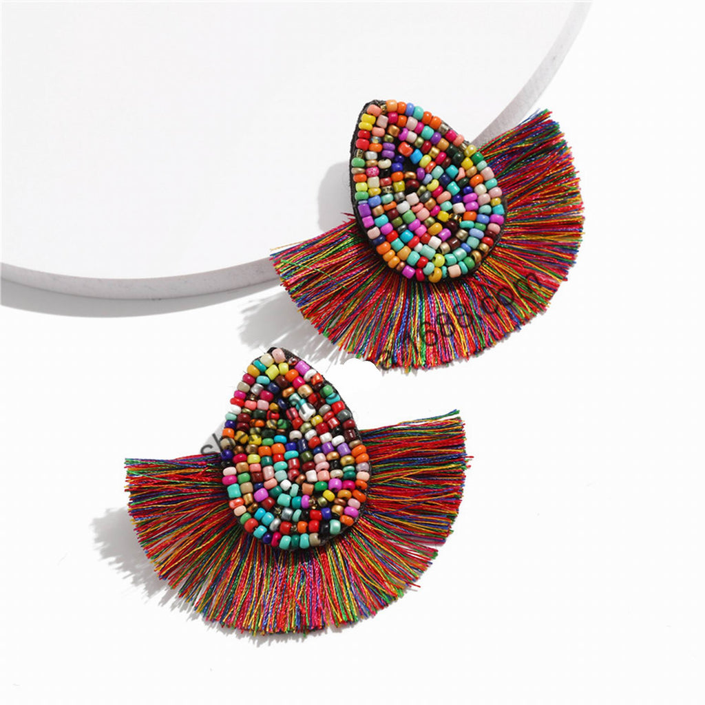 Woven Beaded Chandelier Earrings