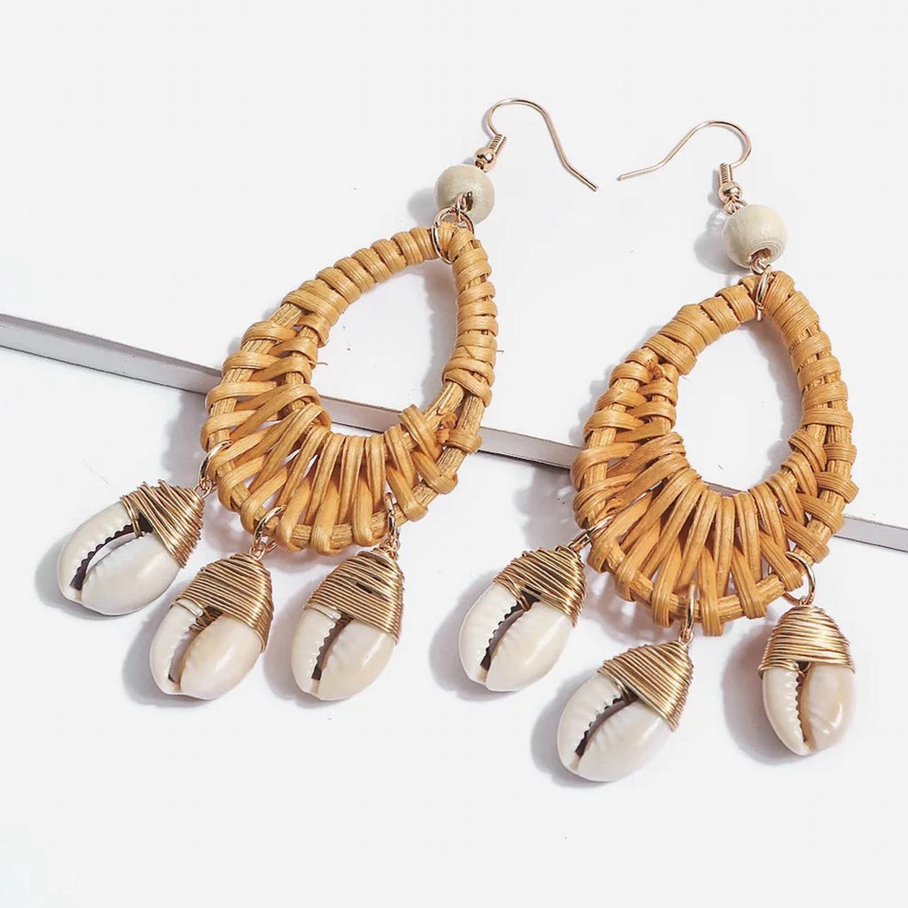 Rattan Chandelier Tassel Seashell Earrings