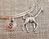 Giraffe Initial Bangle Personalized Jewelry, zoo jewelry
