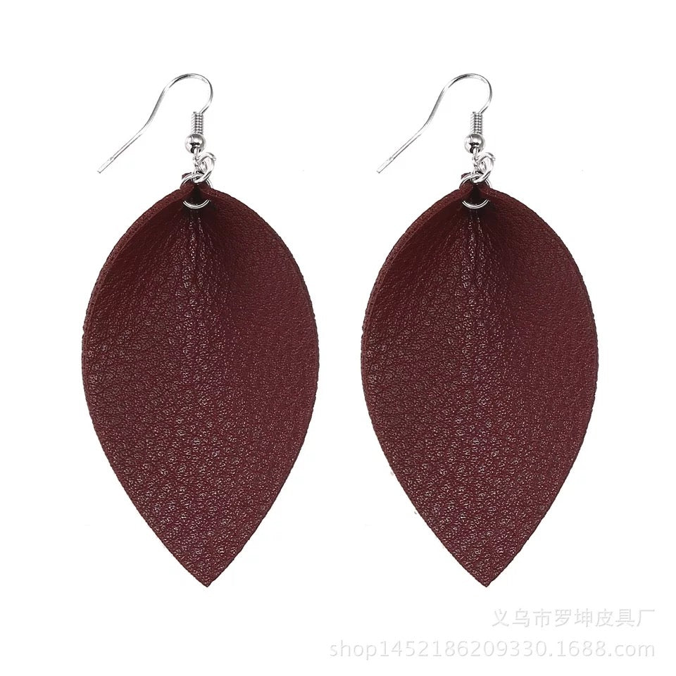 Leather Dangle Leaf Earrings