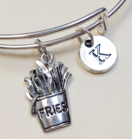 French Fries Initial Bangle Personalized Jewelry Bridesmaid Gifts