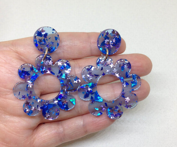 Blue Acrylic Flower Earrings