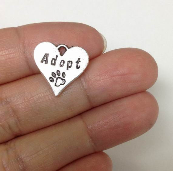 5 Adopted dog Heart charm Lot