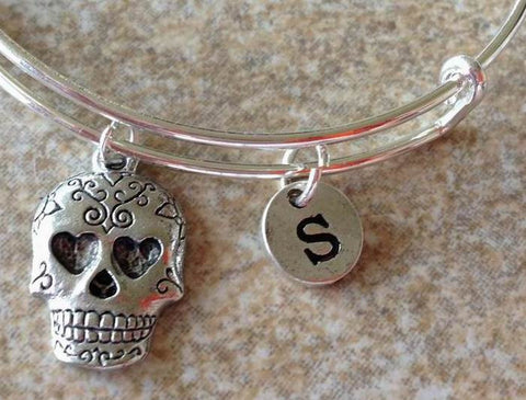 Sugar Skull Initial Bangle Personalized Jewelry Bridesmaid Gifts