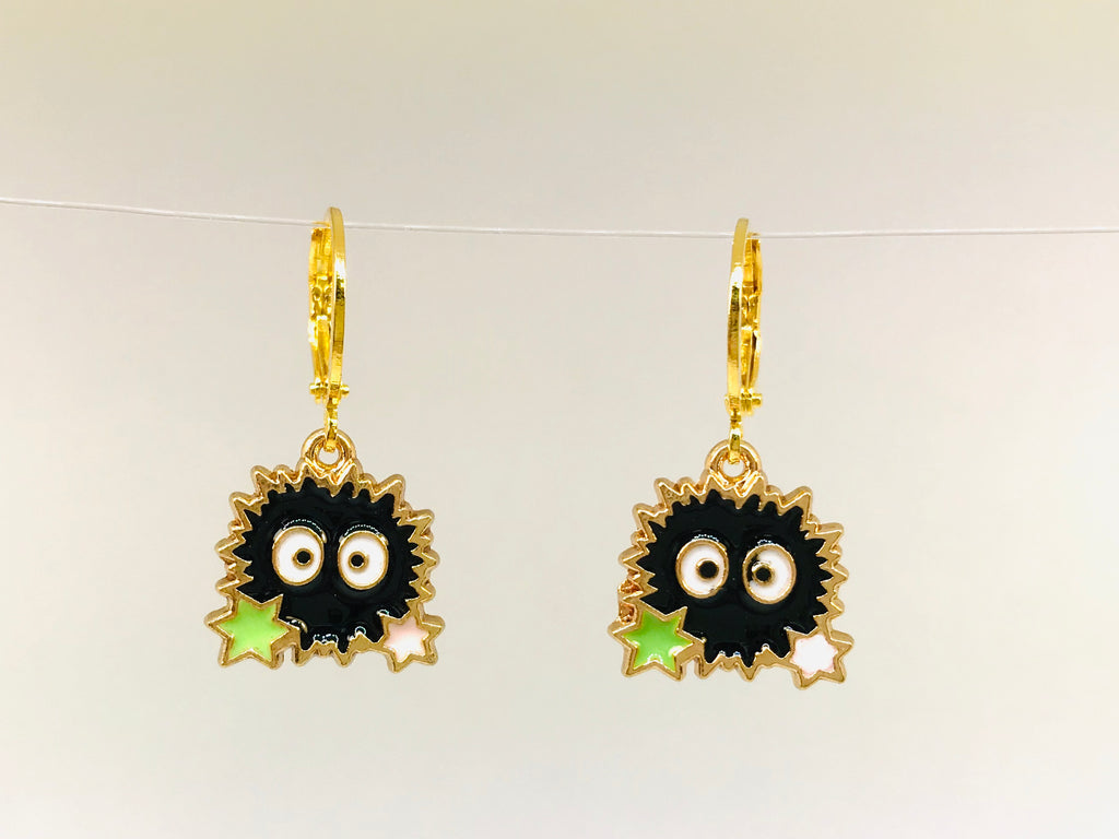 Soot Earrings, Studio Ghibli Kaonashi, Soot Sprite Hook Earrings | Studio Ghibli Jewelry | Spirited Earrings | My Neighbor Totoro Jewelry