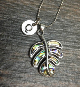 Paua Shell Tree Leaf Charm Initial Necklace