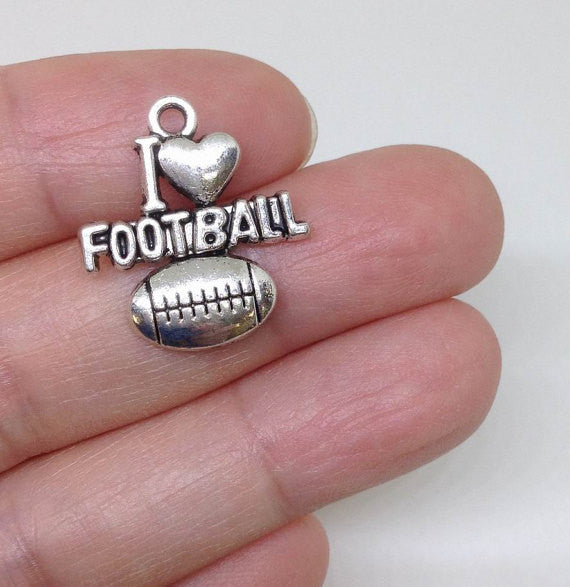 I Love Football Charm, Sports Charm, Athlete Charm, High School Charm, Fitness Charm, Football Charm 6 Pieces