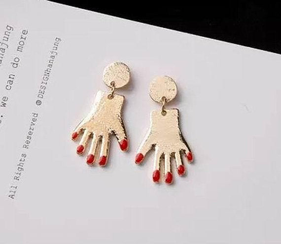 Red Finger Nail Novelty Earrings