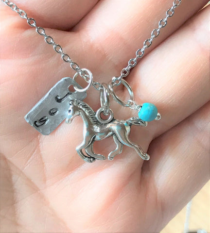 joy horse hand stamped charm necklace wholesale