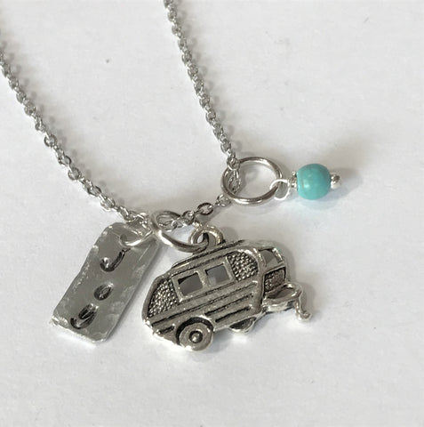 Happy Camper Charm Necklace - Camping Jewelry