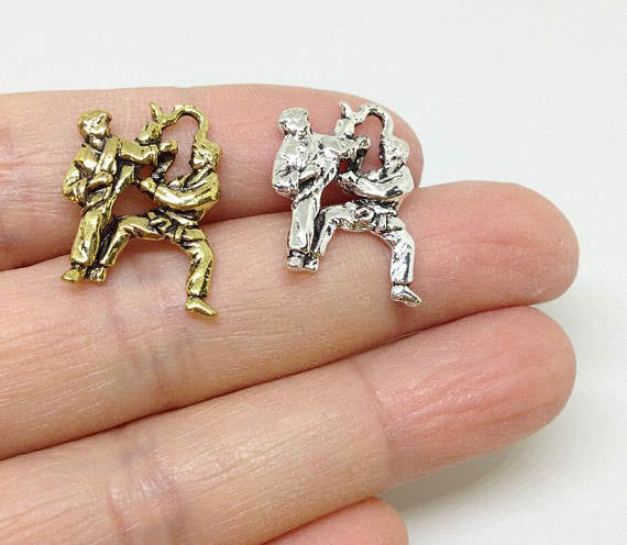 6 Karate Charms, Self Defense Charm, martial arts Charm, Silver or Gold