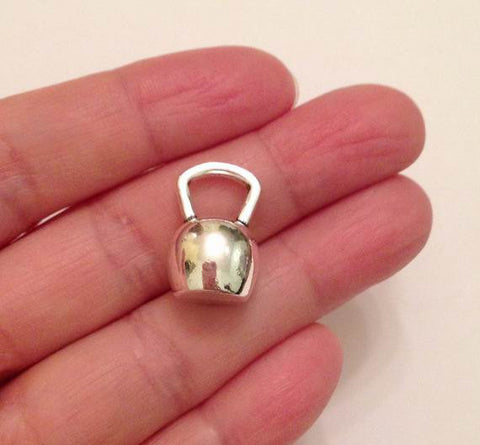 6 Kettle Bell Charms, Dumbbell charm, Weight lifting Charm, Exercise Charm, Jewelry Supplies, Jewelry Findings