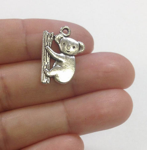 10 Koala Charms Antique Silver Tone, Charm for Bracelet, Charms for Necklaces, Wholesale Charms
