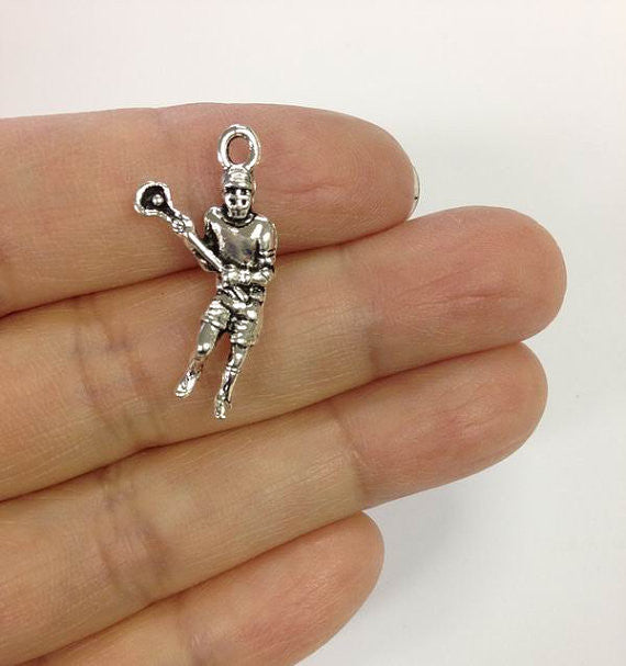 6 Lacrosse Player Charms, Lacrosse Charm, Lacrosse Stick Charm, Pewter Charm, Sports Charm