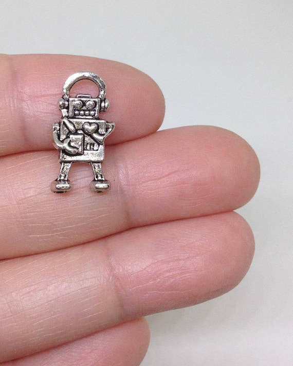15pcs Cute Little Robot Charms, Toy Charm