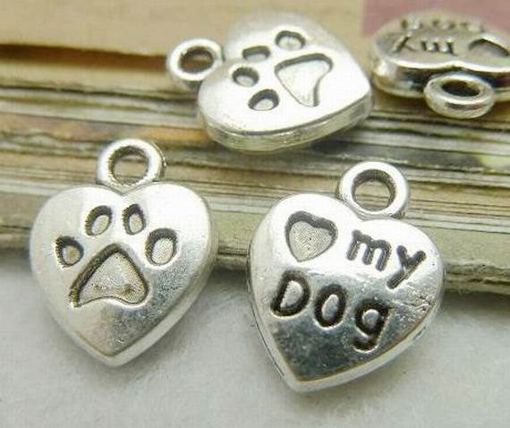6 Love My Dog Add On charm, Add on charms, Heart Charm, Jewelry findings, Jewelry Supplies