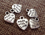 50pcs Heart Charms, Made with Love Heart Charm, Add on Charms, charms for bracelets, charms for necklaces