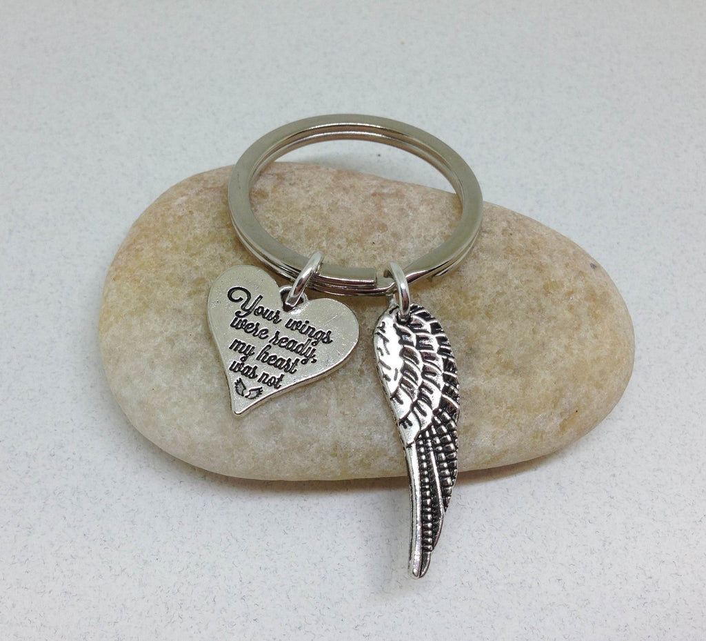 Your Wings Were Ready My Heart Was Not Memorial Keychain, Loss Of Loved One Angel Wings Key Chain