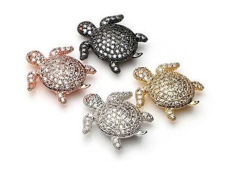 Micro Pave Spacer Turtle bead, Beads