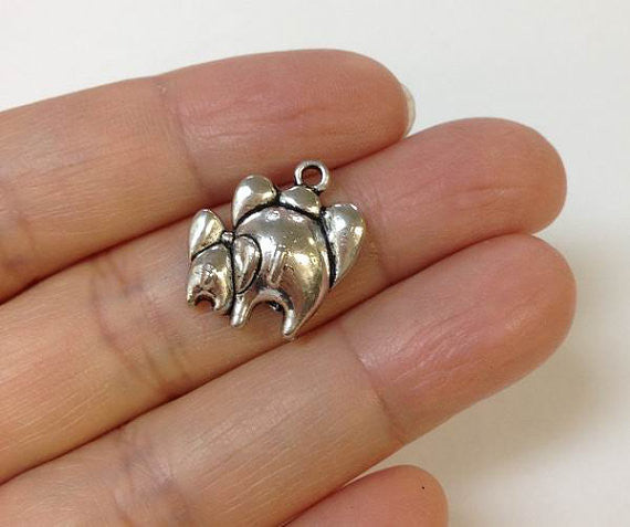 10PCS Mother And Baby Elephant Charm