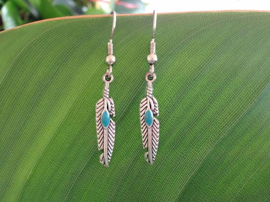 Native American Silver Feather Earrings