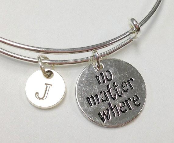 No Matter Where Initial Stainless Steel Bracelet, Best Friend Jewelry, personalized Jewelry
