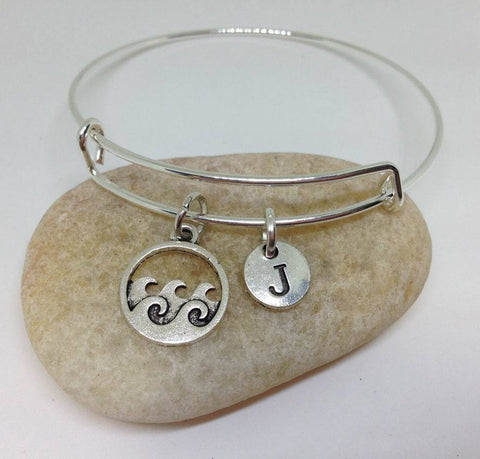 Ocean Wave  Charm Personalized Initial  Bangle