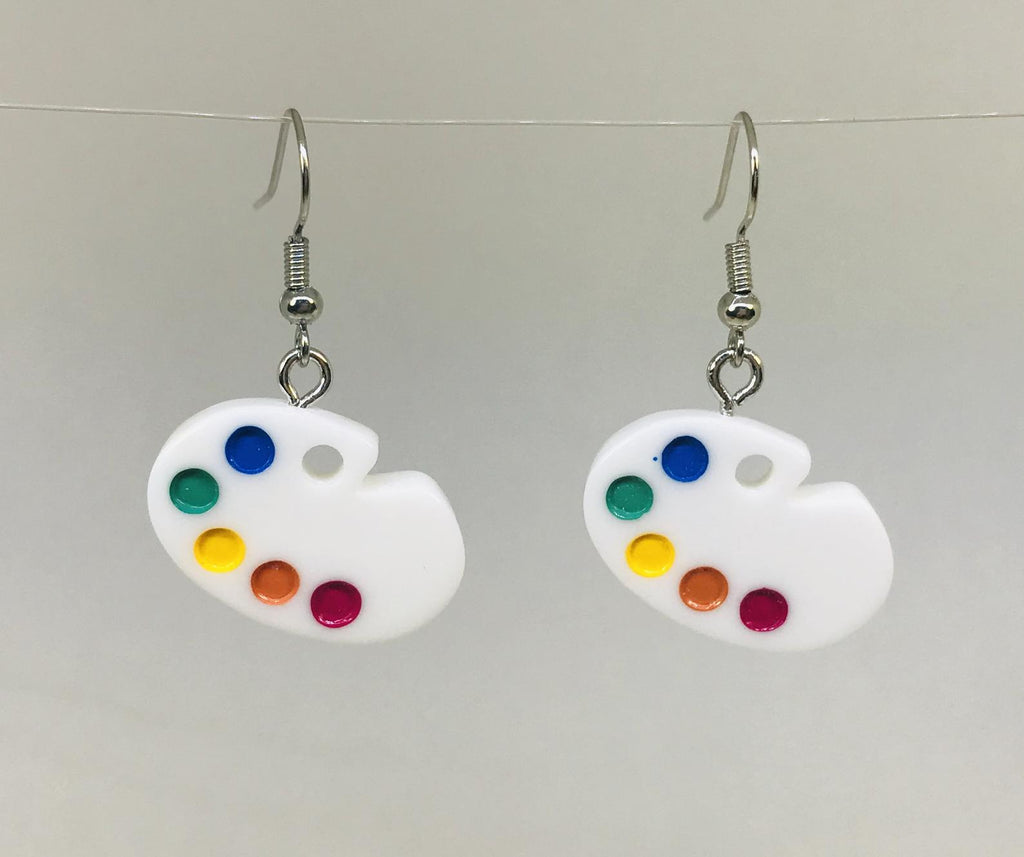 Painter Palette Earrings, Painter Plate Jewelry, Artist Gift
