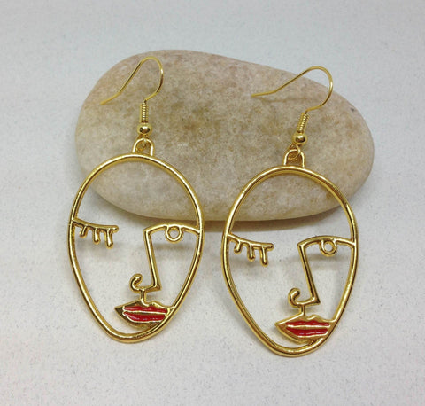 Picasso Statement Art Earring Face with Red Lips