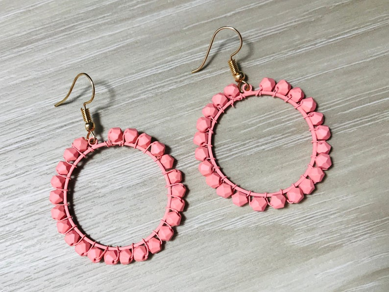 Circle Pink Earrings