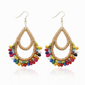 Rattan Woven Beaded Teardrop Earrings