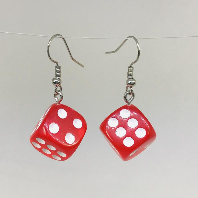 3D Dice Earrings, Lucite Dice Earrings, Dice Gifts