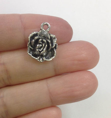 10 Rose Charm, Rosy Charm, Flower Charm, Nature Charm, Charm for Bracelet, Charms for Necklaces, Wholesale Charms