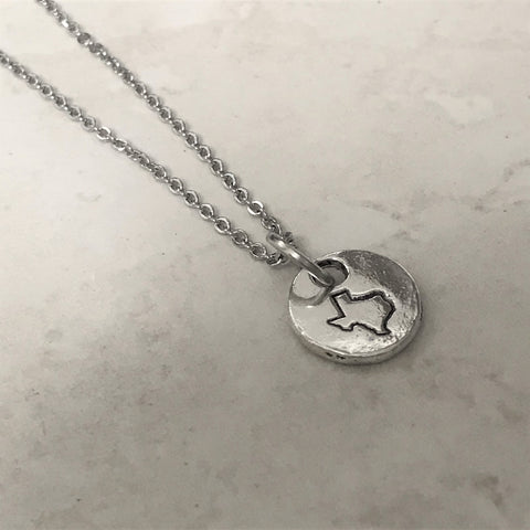 Silver Texas Map Charm Necklace